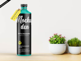 Free Bottle Packaging Mockup PSD Template