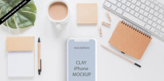 Free Clay iphone Mockup PSD Template