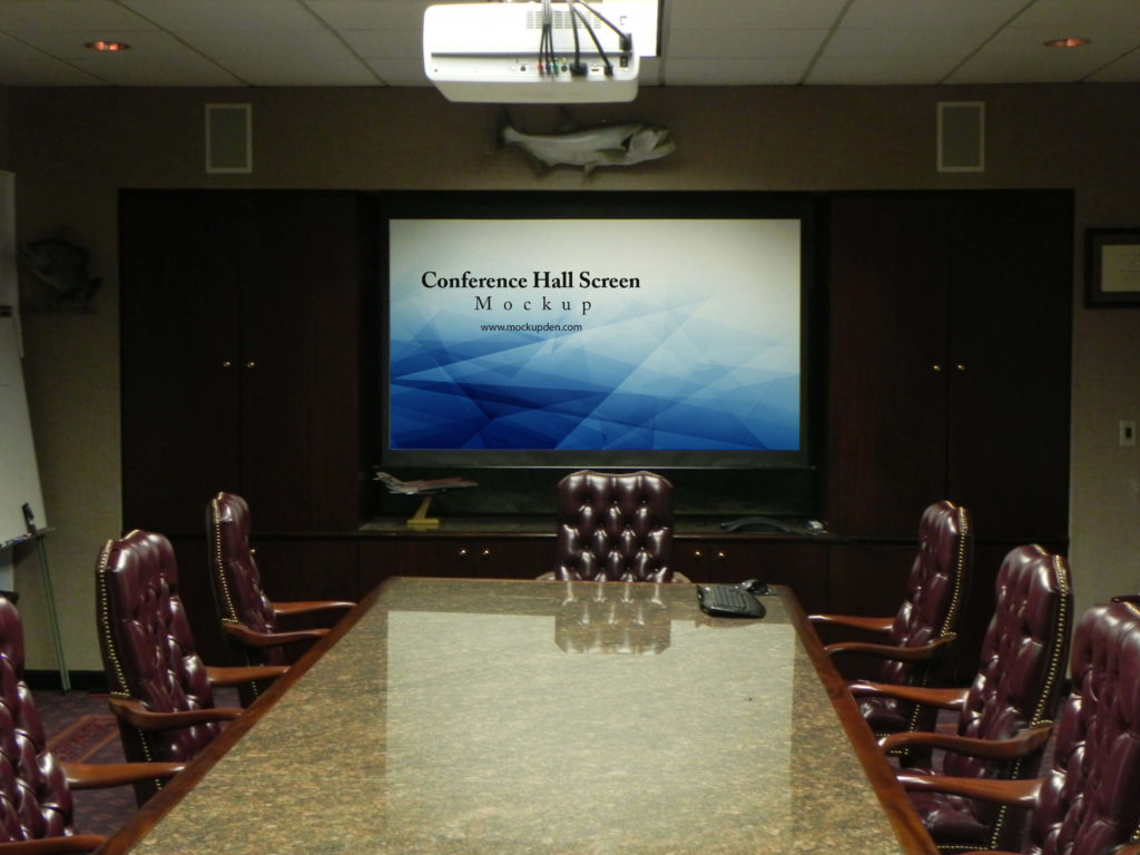 Free Conference Hall Screen Mockup PSD Template