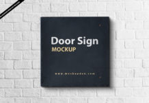Free Door Sign Mockup PSD Template