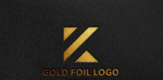 Free Gold Foil Logo Mockup PSD Template