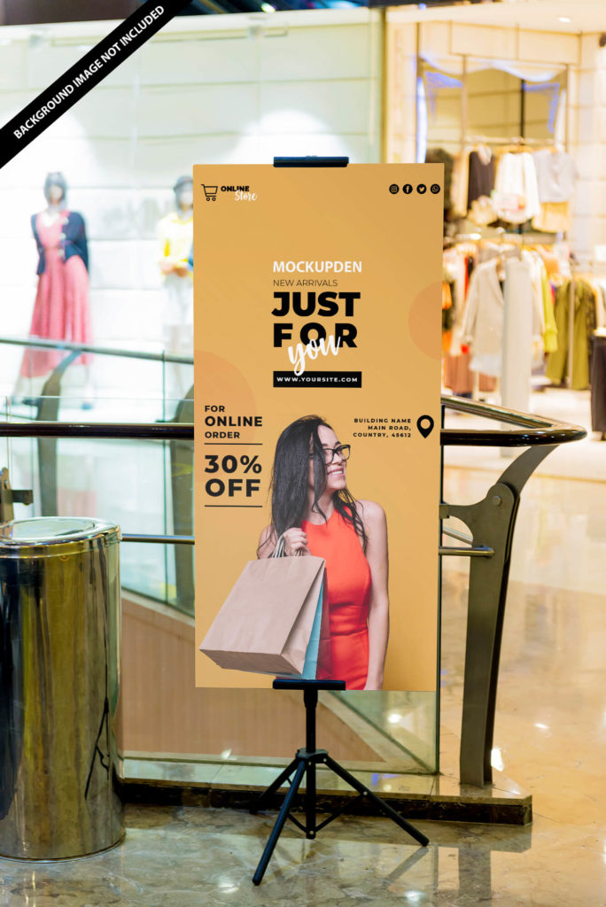 Free Shopping Mall Indoor Banner Mockup PSD Template