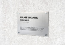 Free Name Board Mockup PSD Template