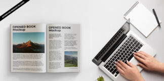 Free Opened Book Mockup PSD Template