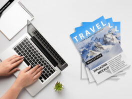 Free Stack Of Magazines Mockup PSD Template