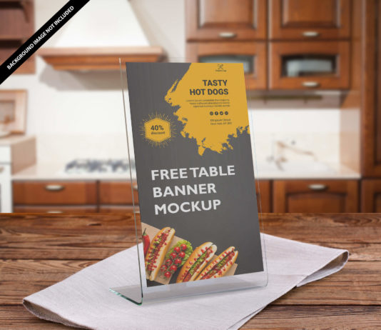 Free Table Banner Mockup PSd Template
