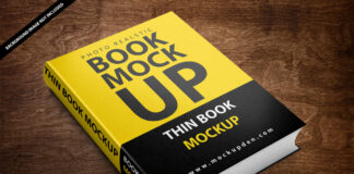 Free Thin Book Mockup PSD Template