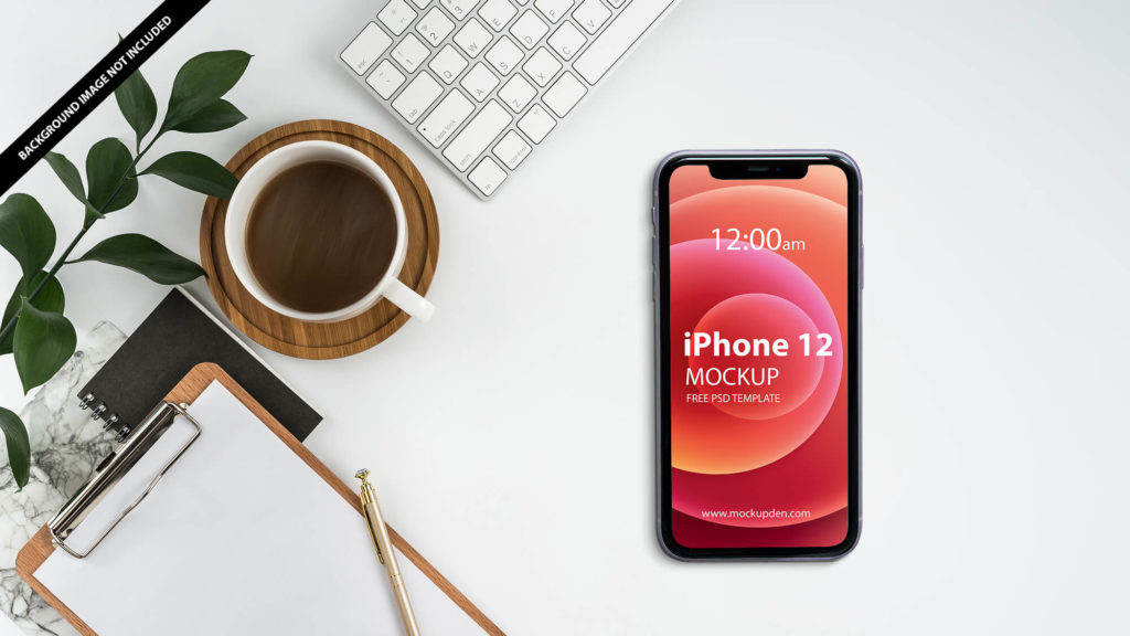 Free iPhone 12 On a Desk Mockup