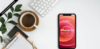 Free iPhone 12 On Desk Mockup PSD Template