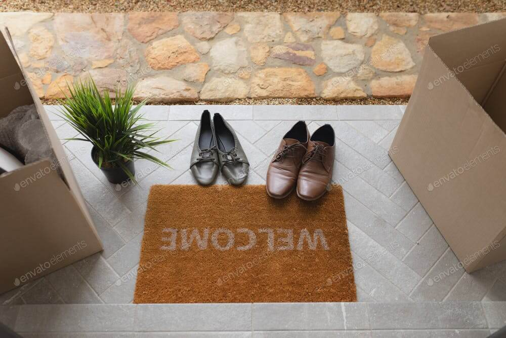 Low section of footwear, cardboard boxes and plant near welcome doormat at home