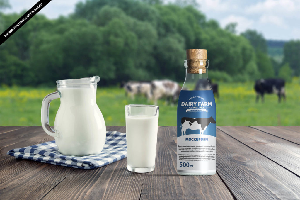 Milk Bottle Mockup Free PSD Template