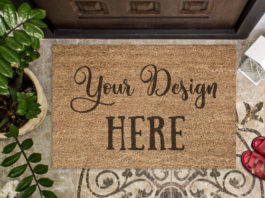 Mockup of coir doormat in a house hall Premium Psd