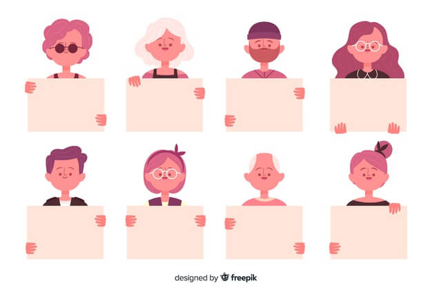 People holding clean placard Free Vector