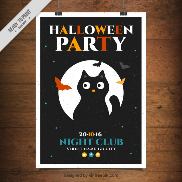 Poster template with a black cat Free Vector