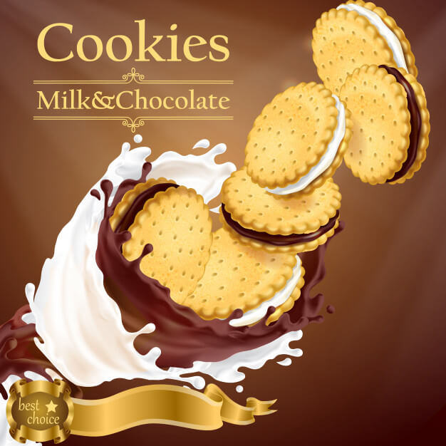 Promotion banner with realistic cookies flying in milk and chocolate splashes Free Vector