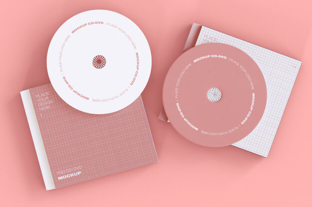 Set of two cd discs mockup Free Psd (1)