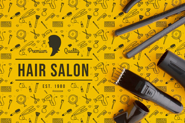 Top view of hairdresser concept mock-up Premium Psd (1)