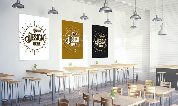 Various posters on restaurant wall mockup Premium Psd (1)