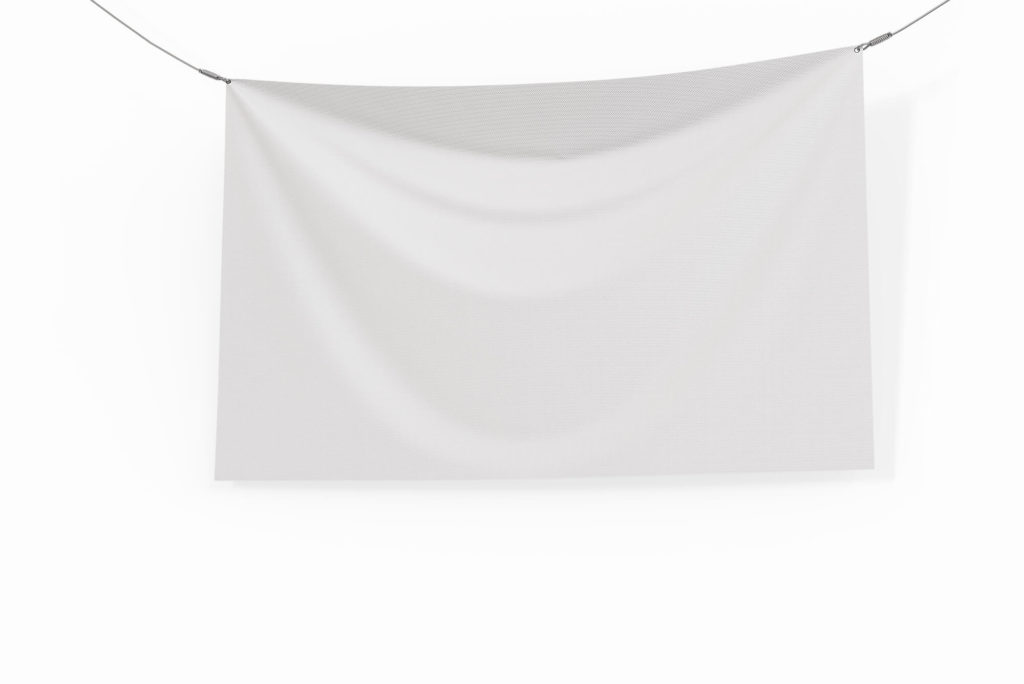 White Free Canvas Banner Mockup PSD Template