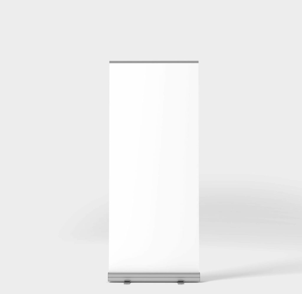 White Free Rollup Banner Mockup PSD Template