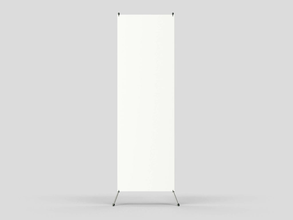 White Free banner Stand Mockup PSD Template