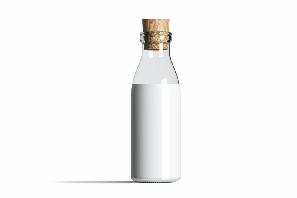 White Milk Bottle Mockup Free PSD Template