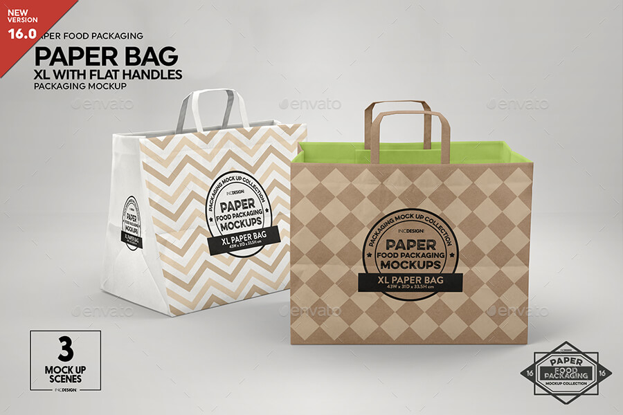 XL Paper Bag with Flat Handles Packaging Mockup