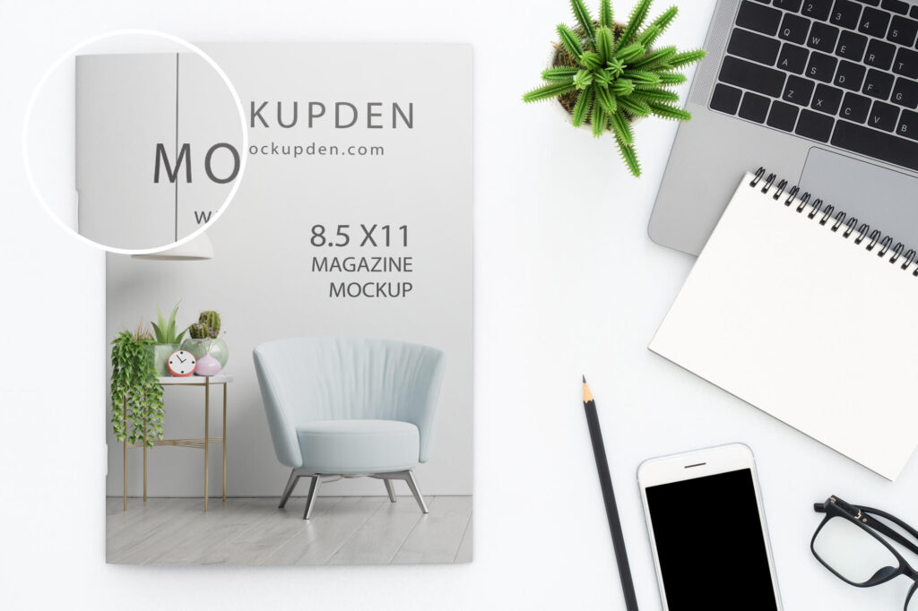 close Up Of a Free 8.5 x11 Magazine Mockup PSD Template