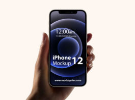 iPhone 12 In Hand Mockup PSD Template