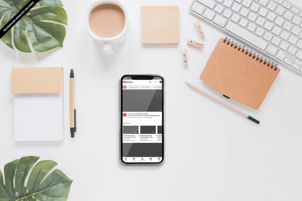 Free Youtube Mockup Mobile PSD Template