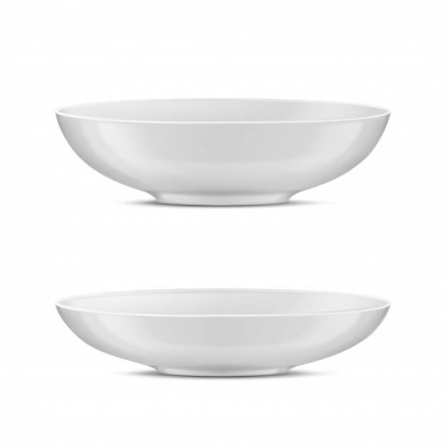 3d realistic white porcelain tableware, glass dishes for different food. Free Vector (1)