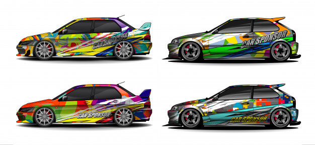 Abstract background vector for racing car wrap design and vehicle livery Premium Vector (1)