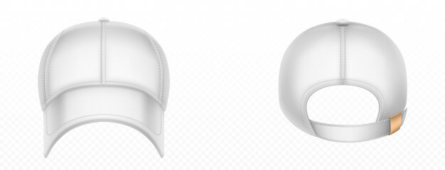 Baseball cap front and back view. vector realistic mockup of blank white hat with stitches, visor and snap on peak. sport uniform cap for protection head of sun isolated Free Vector (1)