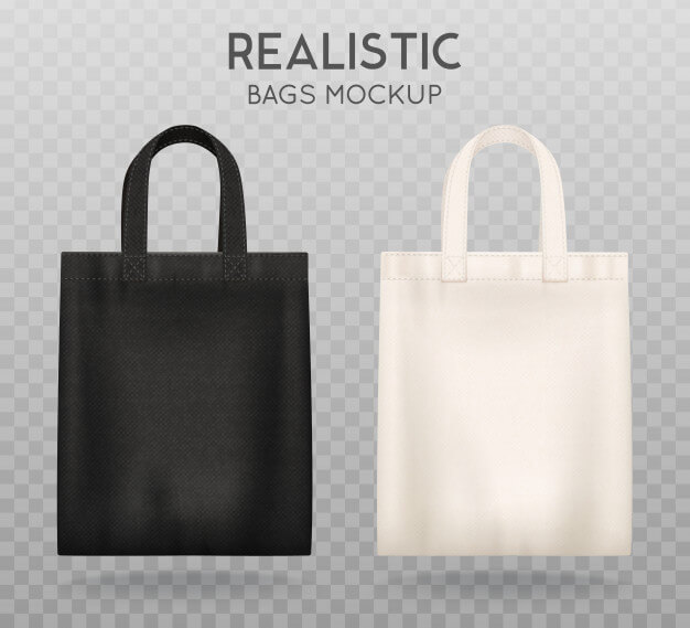 Black and white tote shopping bags Free Vector