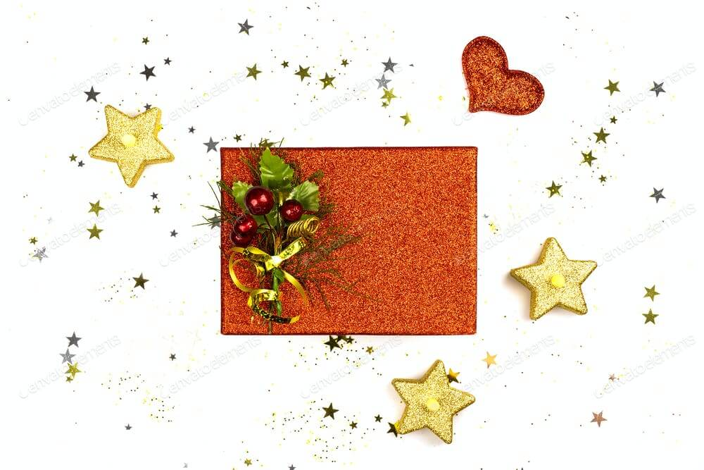 Christmas Background with gift box and decorations on white background (1)