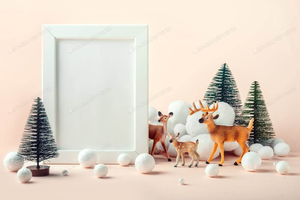 Christmas mockup frame with a decor of deer, fir trees and decorative snow (1)