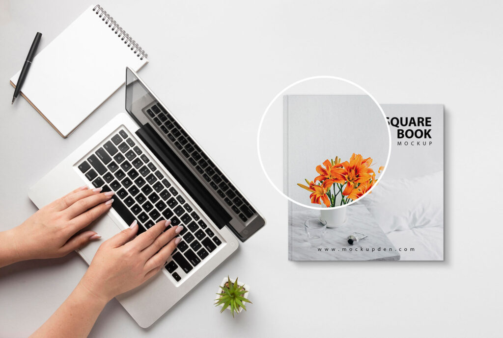 Close Up OF a Free Square Book Mockup PSD Template