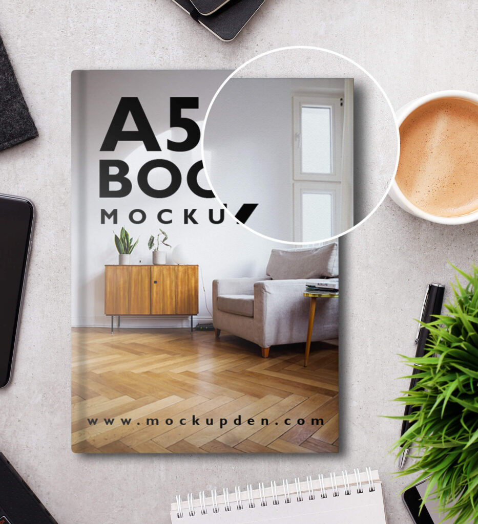 Close Up Of a Free A5 Book Mockup PSD Template