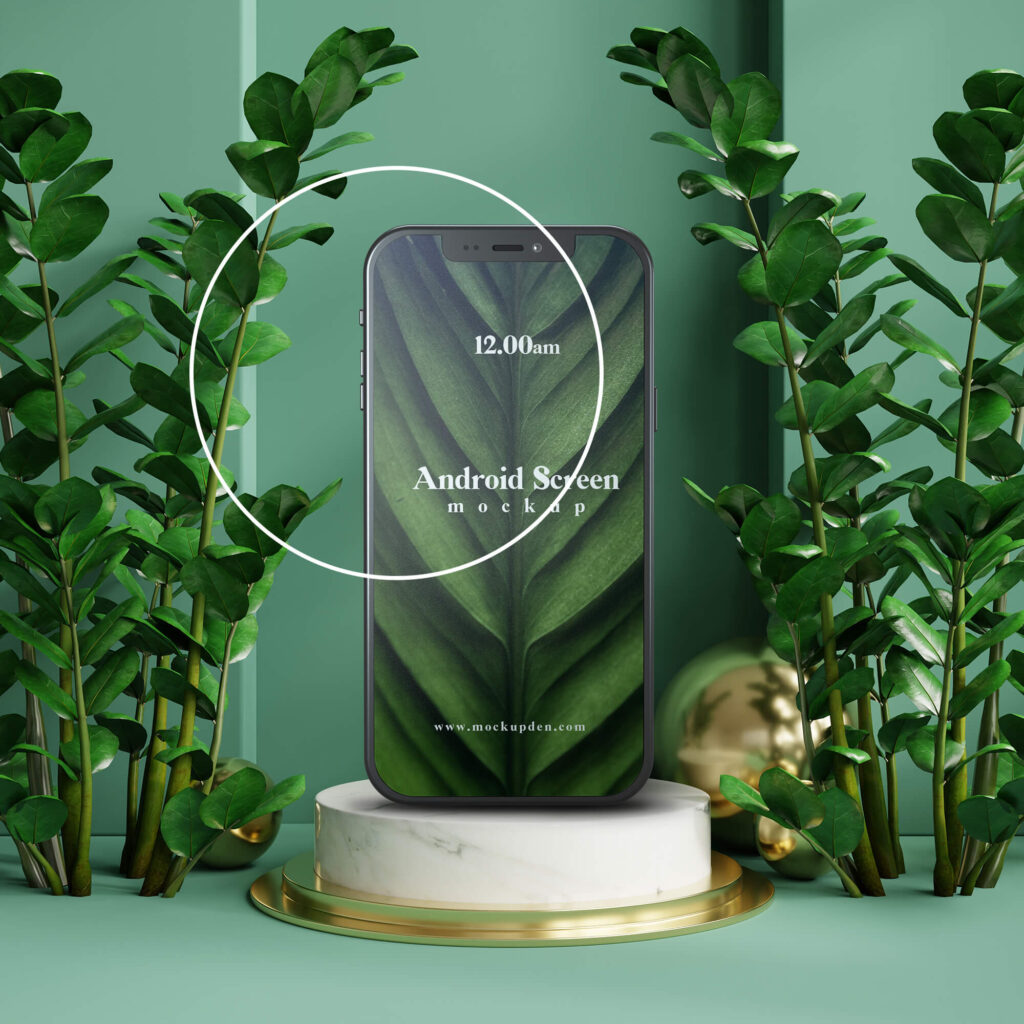 Close Up Of a Free Android Screen Mockup PSD Template