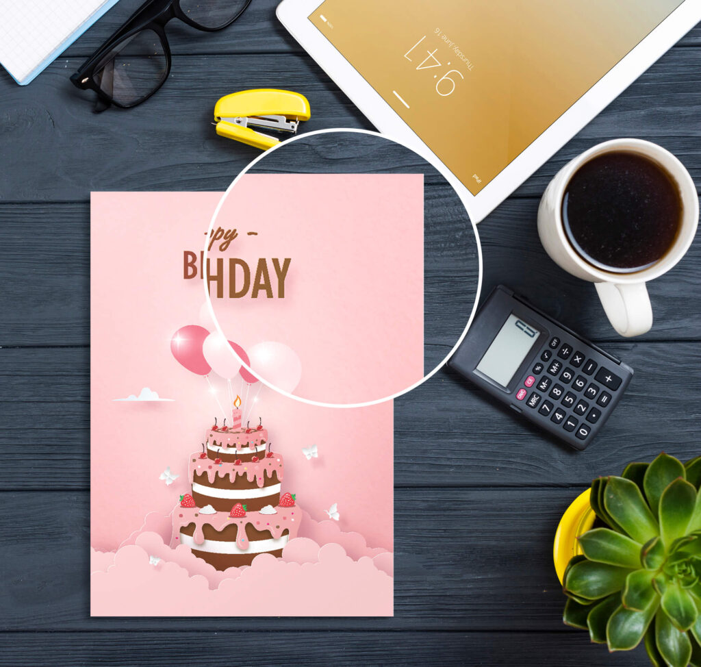 Close Up Of a Free Birthday Card Mockup PSD Template