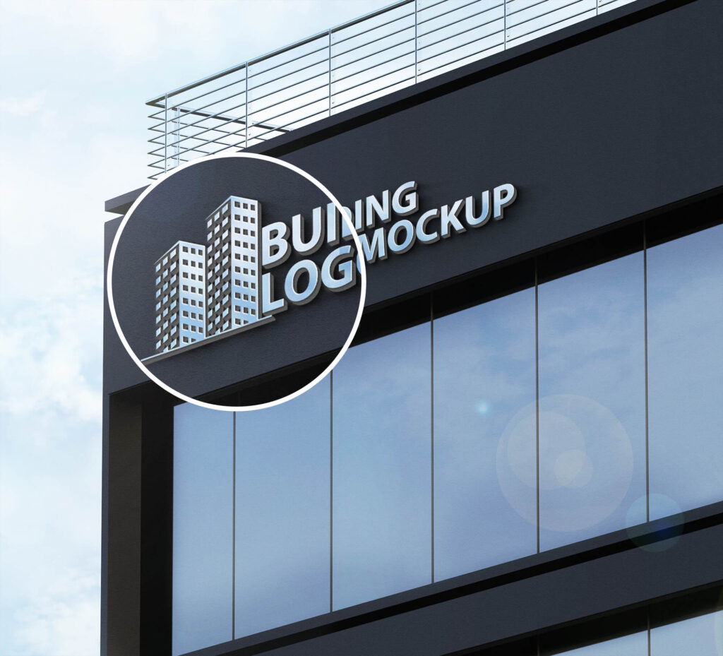 Close Up Of a Free Building Logo Mockup PSD Template