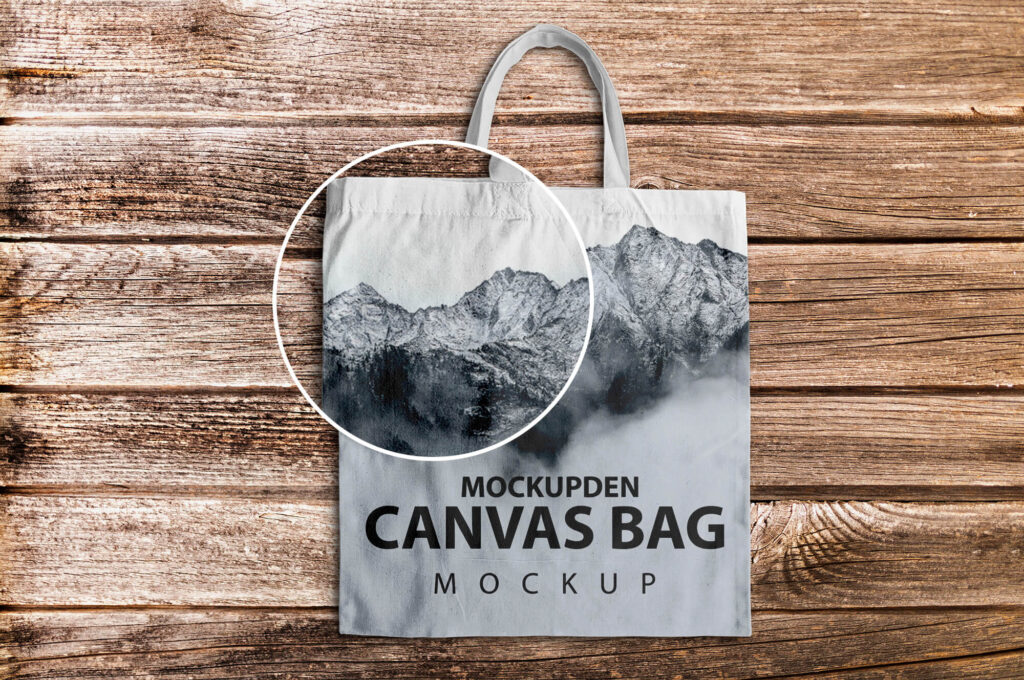 Close Up Of a Free Canvas Bag Mockup PSD Template