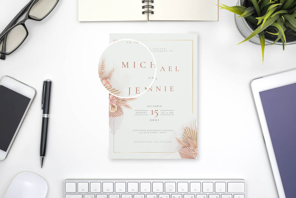Close Up Of a Free Invitation Mockup PSD Template