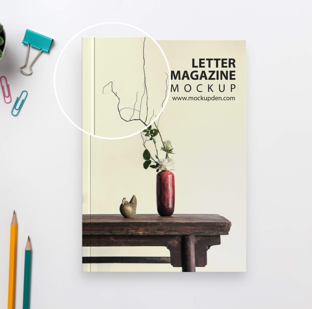 Close Up Of a Free Letter Magazine Mockup PSD Template