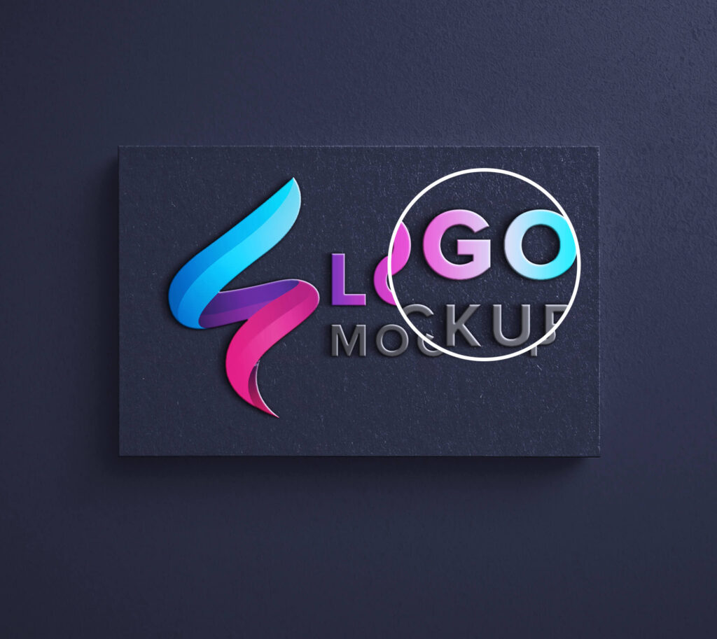 Close Up Of a Free Logo Branding Mockup PSD Template