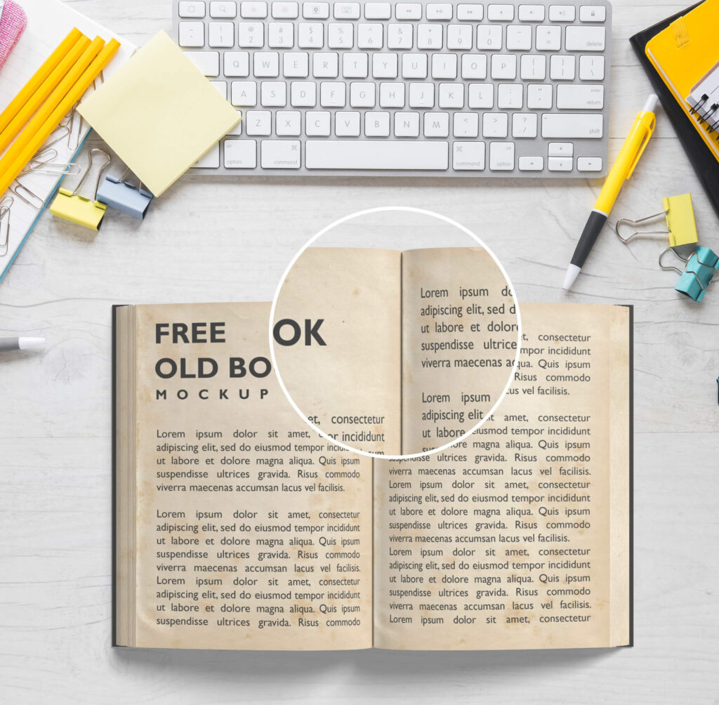 Close Up Of a Free Old Book Mockup PSD Template