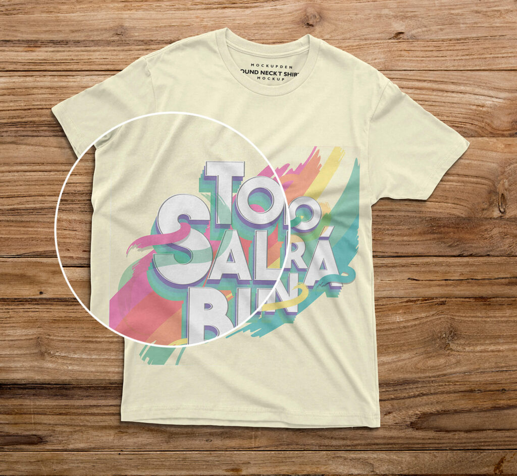 Close Up Of a Free Round Neck T Shirt Mockup PSD Template