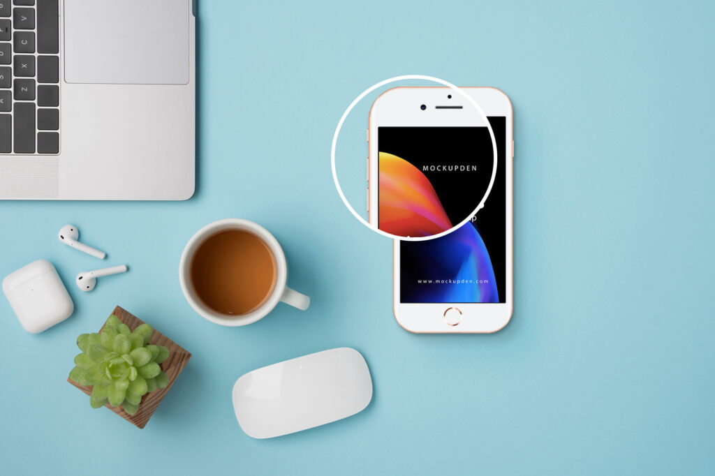Close Up Of a Free iPhone8 Mockup PSD Template