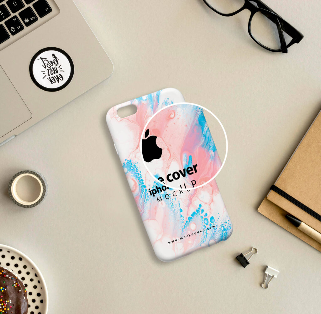 Close Up Of a Free iphone Cover Mockup PSD Template