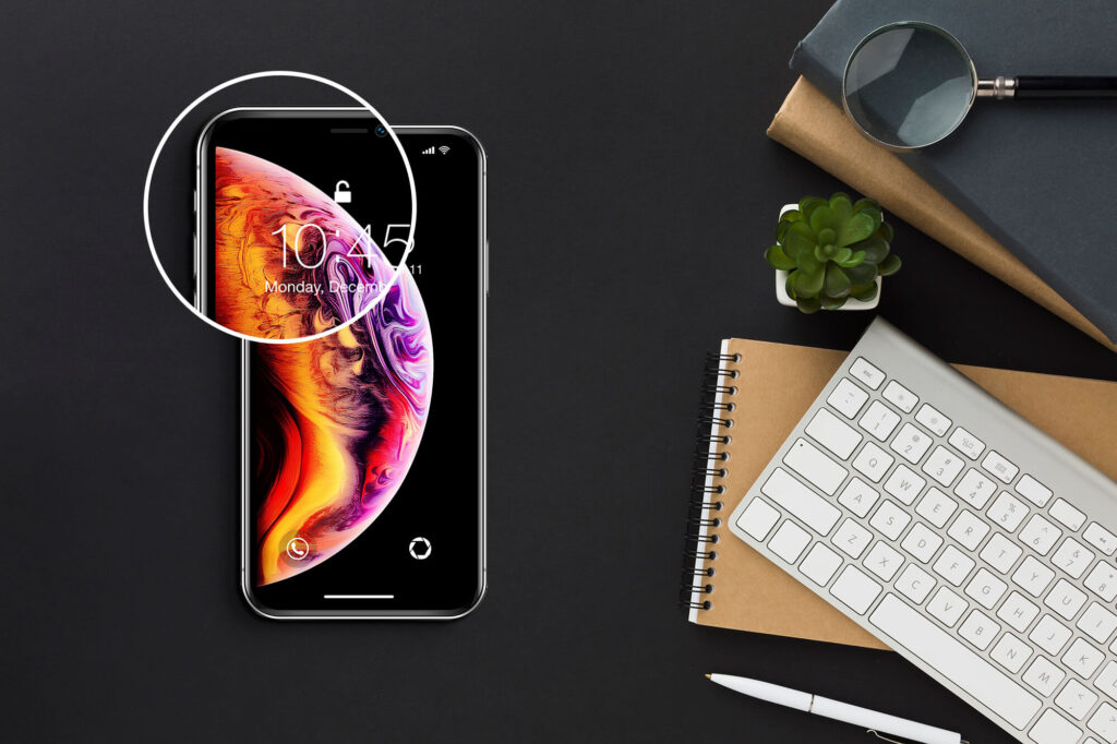 Close Up Of a Free iphone x Screen Mockup PSD Template